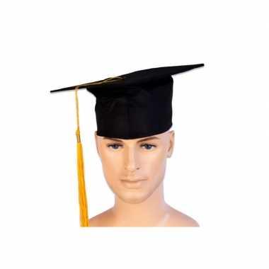 Afstudeer hoed geslaagd zwart gouden kwast volwassenen
