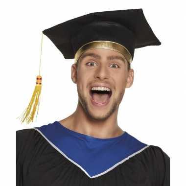 Afstudeer hoed geslaagd zwart volwassenen