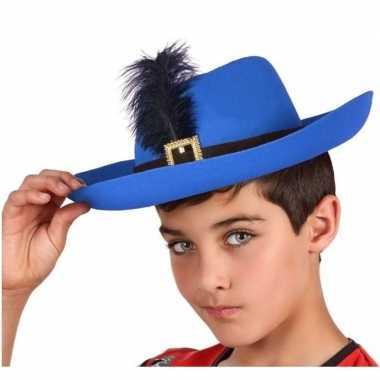 Blauwe musketier verkleed hoed kinderen