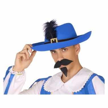 Blauwe musketier verkleed hoed volwassenen