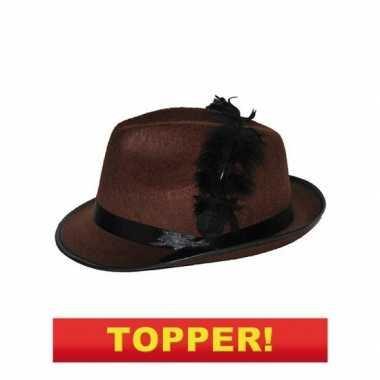 Bruine kojak hoed zwarte veer