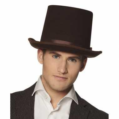 Bruine luxe hoge hoed heren