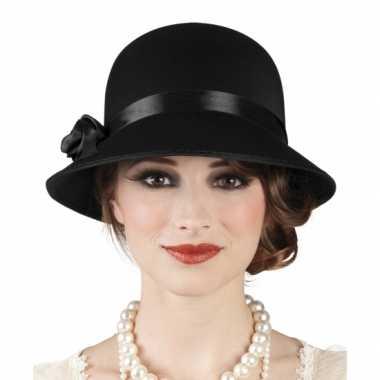 Charleston hoed zwart dames