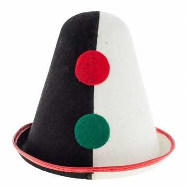 Clowns verkleed hoedje pierrot zwart/wit volwassen