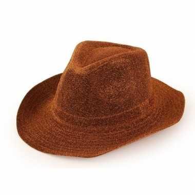 Cowboyhoed koperbruin glitter volwassenen