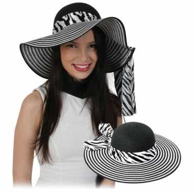 Dames zonnehoed zebra band