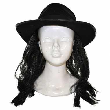 Donkere pruik met hoed