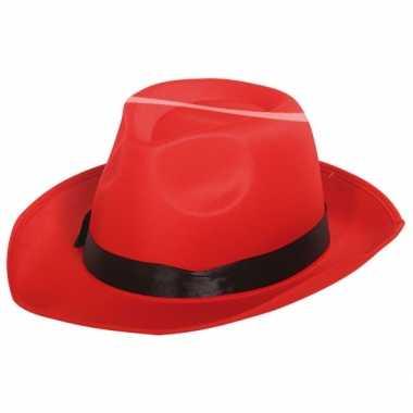 Fedora hoed rood met zwarte band