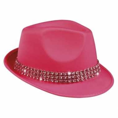 Fuchsia popstar hoedje met studs