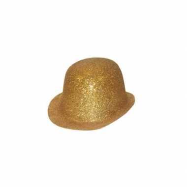 Goud bolhoedje met glitters