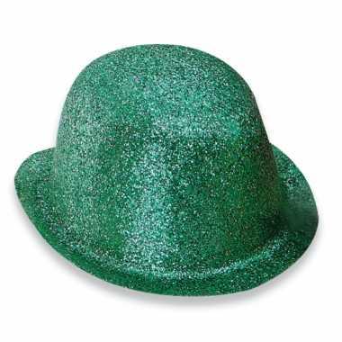 Groen bolhoedje met glitters