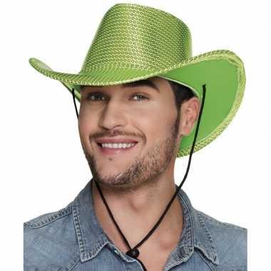 Groene cowboyhoed howdy pailletten volwassenen