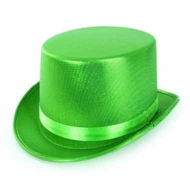 Groene hoge hoed metallic volwassenen