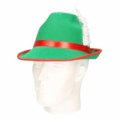 Groene tiroler hoed witte veer volwassenen