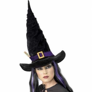 Halloween Heksen hoed zwart met paars