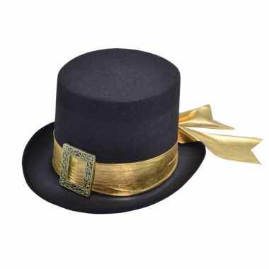 Halloween hoge hoed goud lint volwassenen