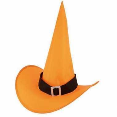 Halloween oranje heksenhoed nylon