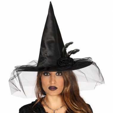 Halloween zwarte heksenhoed bloem sluier