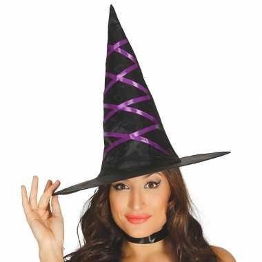 Halloween zwarte heksenhoed paars lint dames