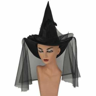 Halloween Zwarte hoge heksenhoed met sluier