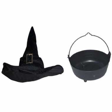 Heksen accessoires set fluwelen hoed ketel dames