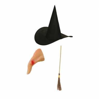 Heksen verkleed set kinderen bezem hoed neus