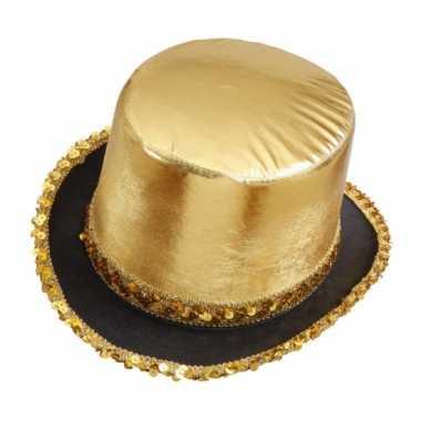 Hoge hoed goud pailletten