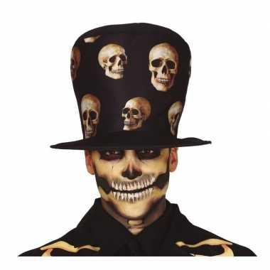 Hoge verkleed hoed zwart schedels