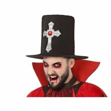 Horror/gothic hoge hoed zwart groot kruis volwassenen