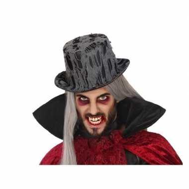 Horror verkleed hoed zwart spinnenrag volwassenen