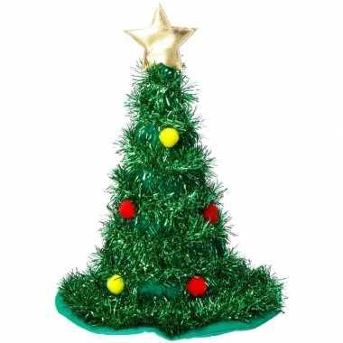 Kerst accessoires kerstboom hoed groen ster