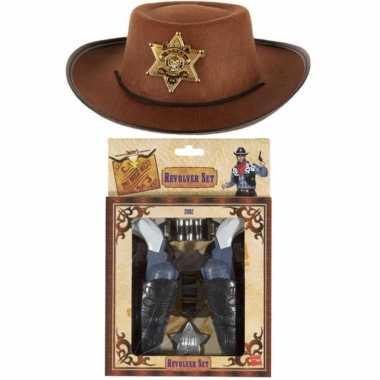 Kinder cowboy verkleed set hoed pistolen