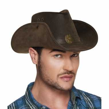 Luxe bruine cowboyhoed nevada lederlook volwassenen