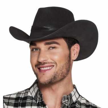Luxe zwarte cowboyhoed wyoming lederlook volwassenen
