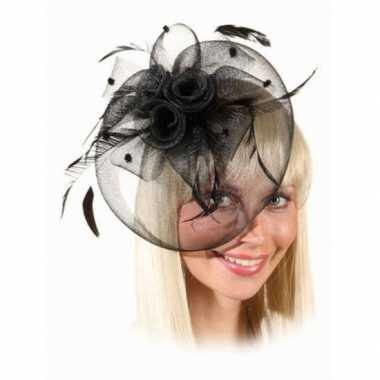Mini hoed zwarte rozen kam