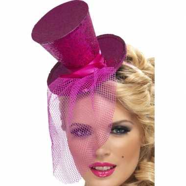 Mini hoge hoed diadeem roze