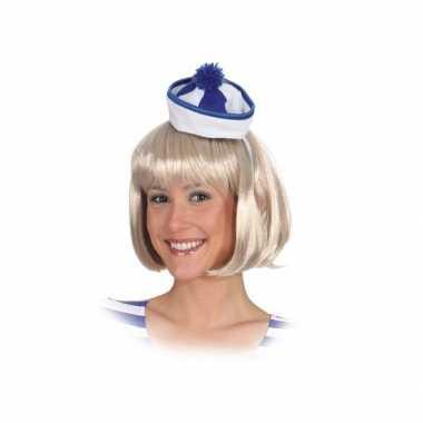 Mini matrozen hoedje blauw/wit