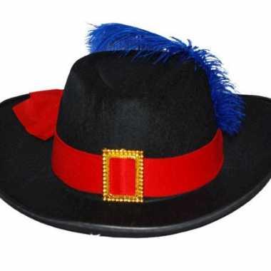 Musketier hoed met rode band en blauwe veer