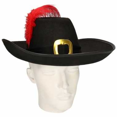 Musketier hoed zwarte band rode veer