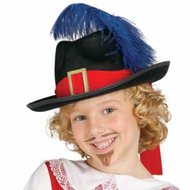 Musketiers hoed met veer kinderen