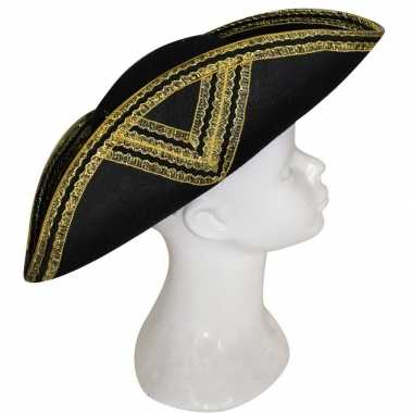Musketiers hoed zwart met goud