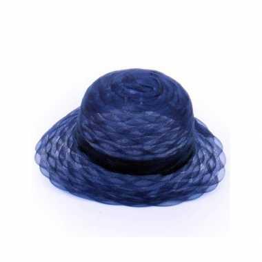 Navy blauwe dameshoed organza stof