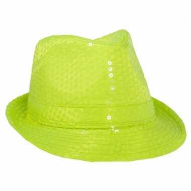 Neon gele trilby hoed pailletten
