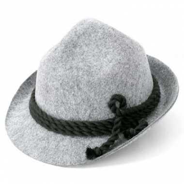 Oktoberfest Alpen hoed grijs voor volwassenen