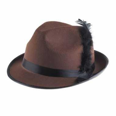 Oktoberfest Bruin kojak hoedje met zwarte veer
