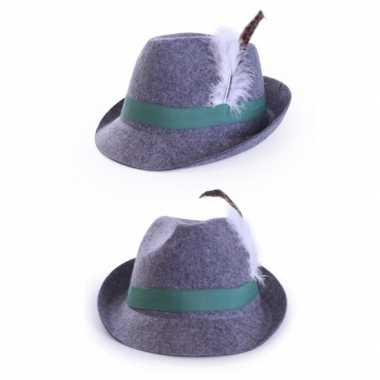 Oktoberfest Grijze Tirol hoed met veer