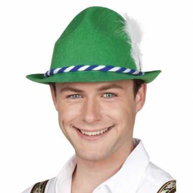 Oktoberfest Groene bayern hoed met witte veer