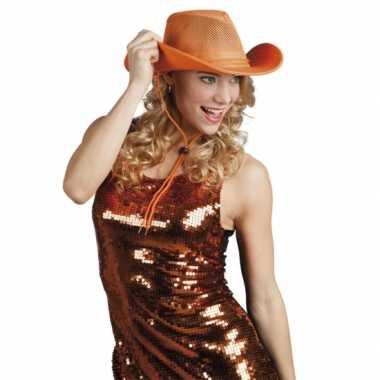 Oranje cowboyhoed met gaas