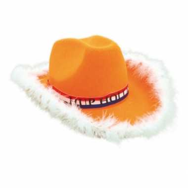 Oranje cowboyhoed voor volwassenen