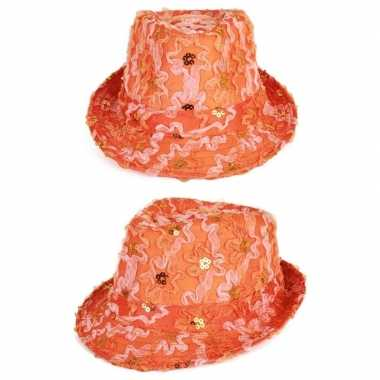 Oranje trilby verkleed hoedje dames ruches pailletten
